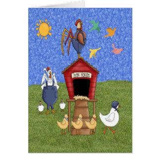 Casa de gallina tarjeta de felicitación