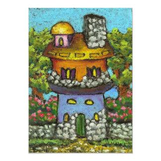"""Casa de hadas colorida invitación 5"""" x 7"""""""