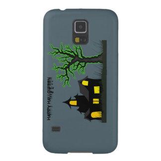 Casa de Halloween y árbol verde Fundas Para Galaxy S5