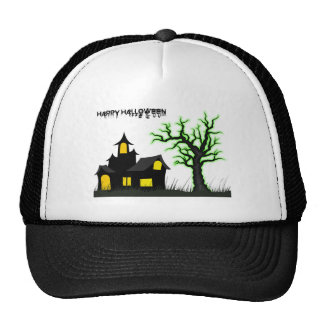 Casa de Halloween y árbol verde Gorra