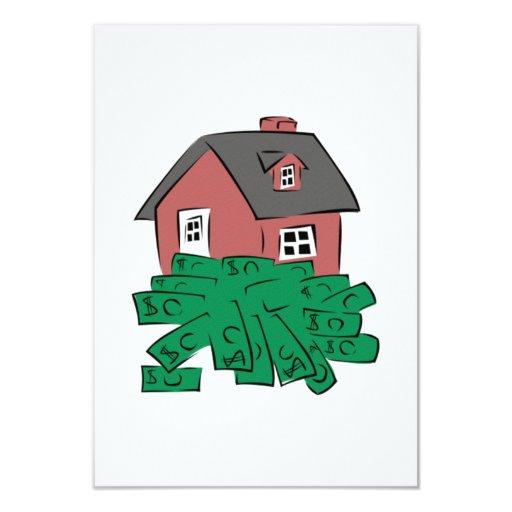 Casa de hoyo del dinero invitación 8,9 x 12,7 cm