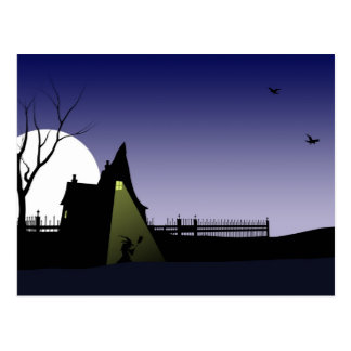Casa de la bruja de Halloween Postales
