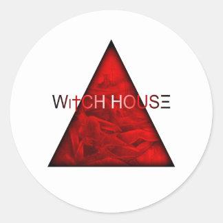 Casa de la bruja etiqueta redonda