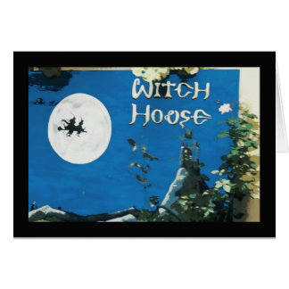 Casa de la bruja tarjeta de felicitación