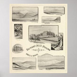Casa de la colina de la puesta del sol, colina del póster