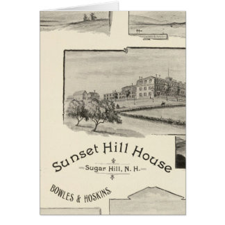 Casa de la colina de la puesta del sol, colina del tarjeta de felicitación