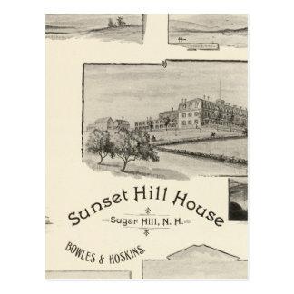 Casa de la colina de la puesta del sol, colina del tarjeta postal
