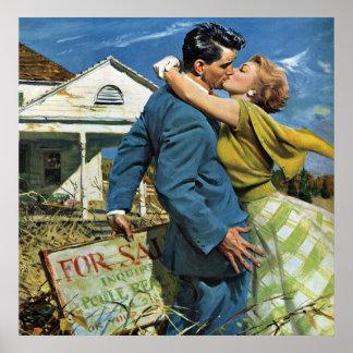 Casa de la compra de los recienes casados del vint poster