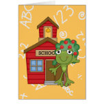 Casa de la escuela de la rana tarjeta de felicitación