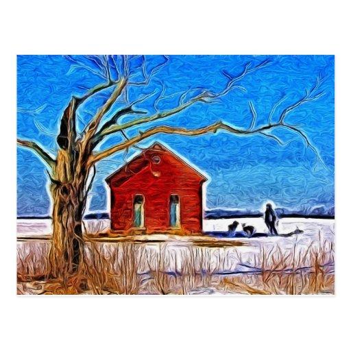 Casa de la escuela en la nieve postal