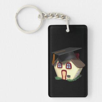 Casa de la graduación llavero rectangular acrílico a doble cara