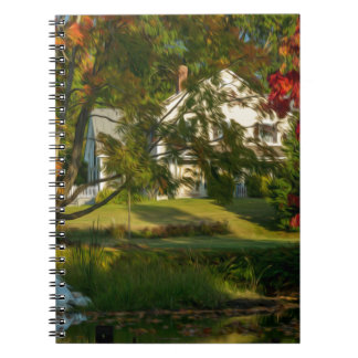 Casa de la granja por el río libro de apuntes