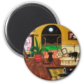 Casa de la Luna Llena de los gatos Imán Redondo 5 Cm