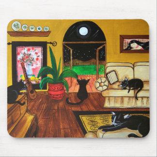 Casa de la Luna Llena de los gatos Tapete De Raton