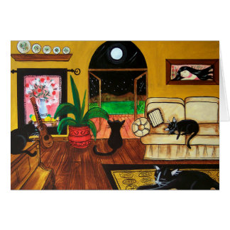 Casa de la Luna Llena de los gatos Tarjeta De Felicitación