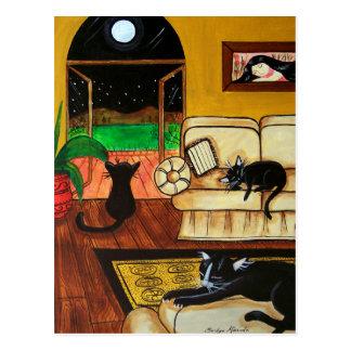 Casa de la Luna Llena de los gatos Tarjeta Postal