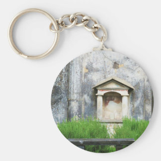 Casa de la pequeña fuente pagana llavero redondo tipo pin