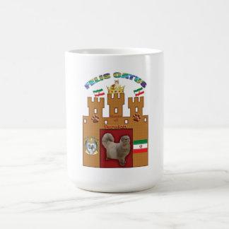 Casa de la taza del escudo del gato persa -