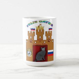 Casa de la taza rusa del escudo del gato azul -