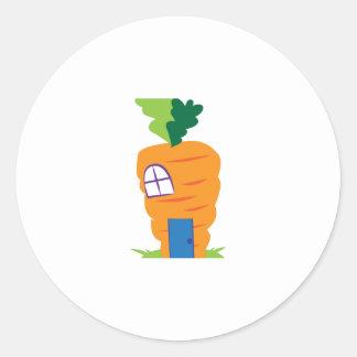 Casa de la zanahoria pegatina redonda