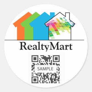 Casa de las propiedades inmobiliarias de la etiqueta redonda