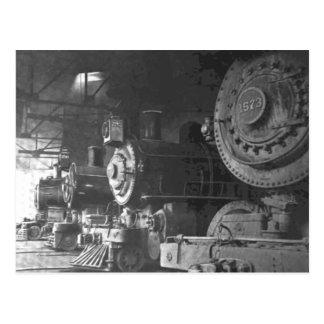 Casa de máquinas de la locomotora de vapor del postal