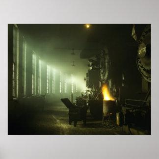 Casa de máquinas locomotora poster
