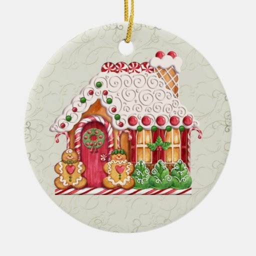 Casa de pan de jengibre adorno navideño redondo de cerámica