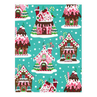 Casa de pan de jengibre alegre del navidad tarjetas postales