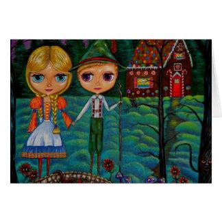 Casa de pan de jengibre de las muñecas de Hansel y Tarjeta De Felicitación