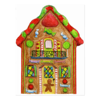 Casa de pan de jengibre del caramelo del navidad postal