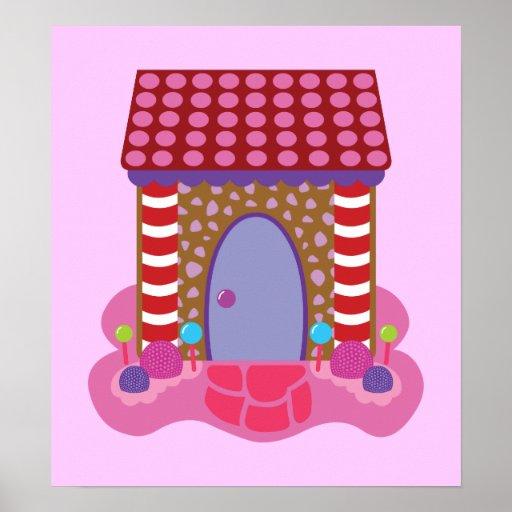 Casa de pan de jengibre del caramelo impresiones