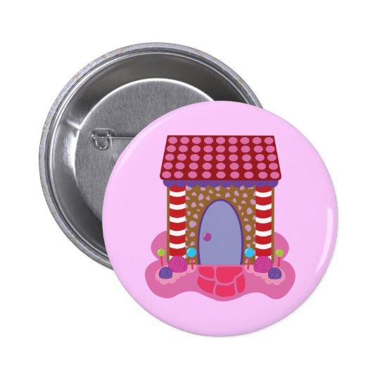 Casa de pan de jengibre del caramelo pin redondo de 2 pulgadas