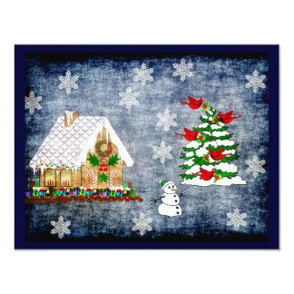 """Casa de pan de jengibre en nieve invitación 4.25"""" x 5.5"""""""