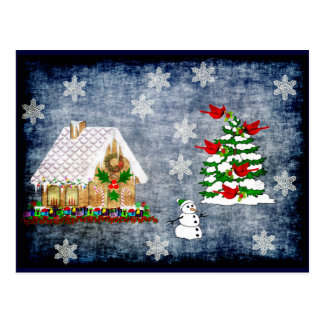 Casa de pan de jengibre en nieve tarjetas postales
