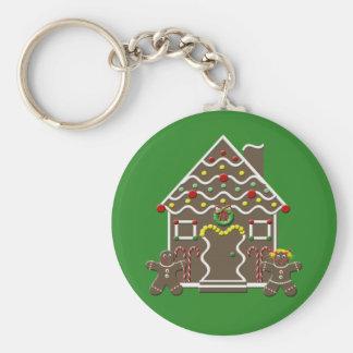 Casa de pan de jengibre linda del navidad llavero redondo tipo pin