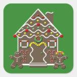 Casa de pan de jengibre linda del navidad calcomanía cuadradas personalizadas