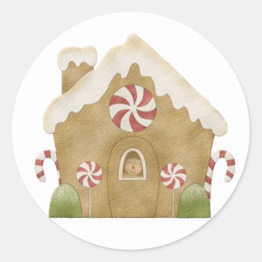 Casa de pan de jengibre pegatina redonda