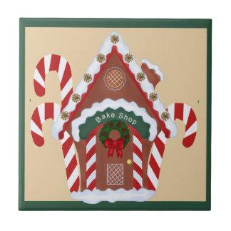 Casa de pan de jengibre y bastones de caramelo Hol Azulejo Cuadrado Pequeño