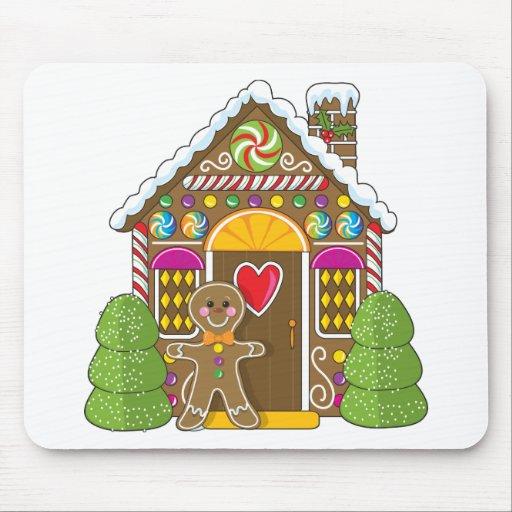 Casa de pan de jengibre y hombre tapete de ratones