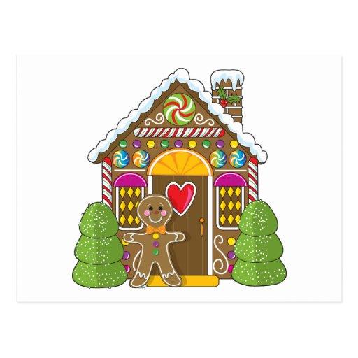 Casa de pan de jengibre y hombre tarjetas postales
