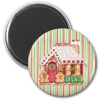 Casa de pan de jengibre y pastillas de goma imán redondo 5 cm