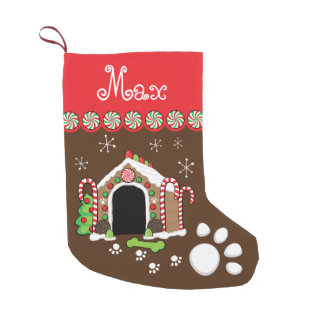 casa de perro del pan de jengibre calcetín navideño pequeño