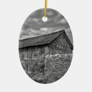 Casa de piedra vieja en Lancashire Adorno Ovalado De Cerámica