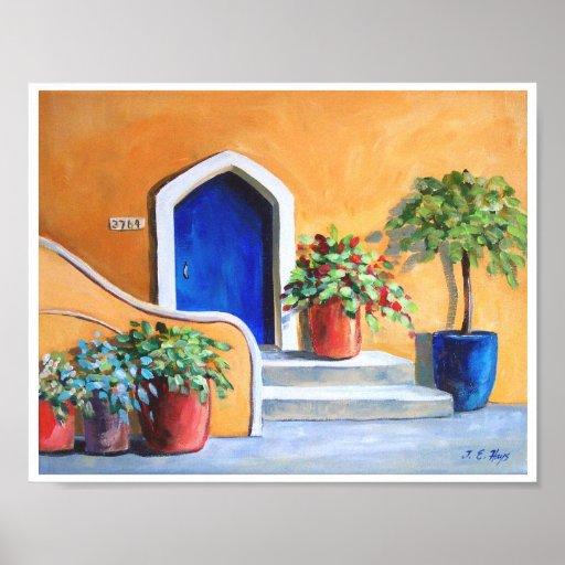 Casa de planta baja azul de la puerta póster