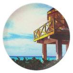 Casa de playa con vista al mar plato de cena