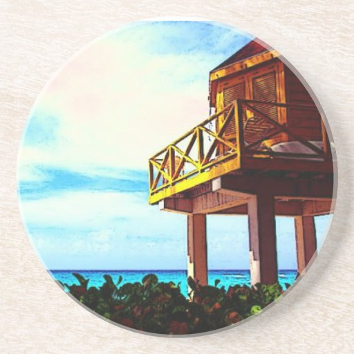Casa de playa con vista al mar posavasos personalizados