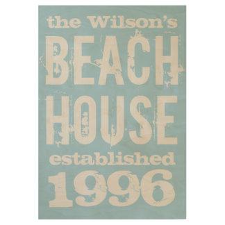 Casa de playa de la familia modificada para póster de madera