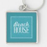 Casa de playa de las azules turquesas del vintage llaveros personalizados