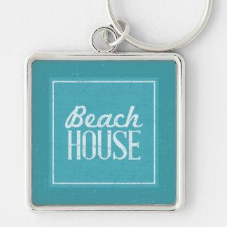 Casa de playa de las azules turquesas del vintage llavero cuadrado plateado
